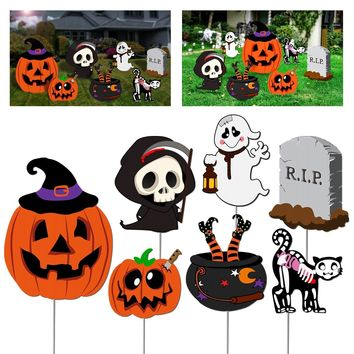 7Pcs Skeleton Ghost Pumpkin Outdoor Scary Ghost Tombstone Yard Stakes Set Practical Durable Premium PP Horrible Lawn Decorations