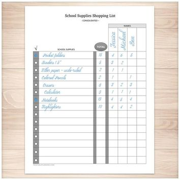 School Supplies Shopping List - Consolidated - Printable