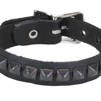 1-Row Mini Black Pyramid Stud Quality Leather Wristband Bracelet