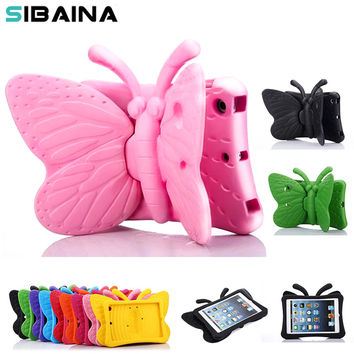 SIBAINA EVA Shockproof Case for iPad Mini 2 3 4 Cartoon 3D Butterfly Stand Table Cover Case for iPad Mini Kids Safe Case fundas