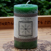 MONEY LUCK Spell Candle by Witchcrafts Artisan Alchemy for Prosperity, Win Lottery, Gambling Fortune, Wealth, Fast Cash - Choose Candle Size