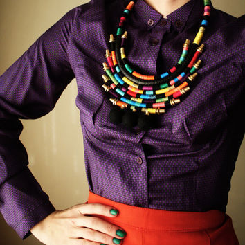 BOOM - Statement Necklace Wrapped Necklace African Inspired Necklace Color Block Rainbow Mid Length Necklace Multicolor Tribal Necklace