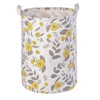 Yellow Flower Foldable Cloth Laundry Hamper Toy Storage Basket