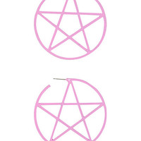 Large Pink Pentagram Hoop Earrings