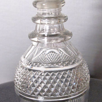 Hand Cut glass 3 ring neck decanter crosscut with mushroom stopper Antique