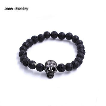 Anna Marrissa New Designer Jewelry Black Volcanic Rock Beads Bracelet,Natural Stones Chain with Gem-Studded Black Skull Charm