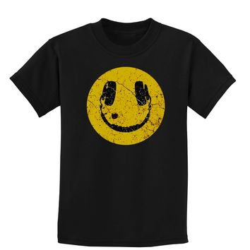 EDM Smiley Face Childrens Dark T-Shirt by TooLoud