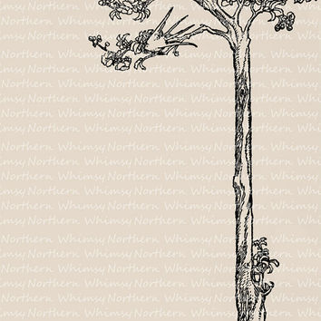 Vintage Clip Art Image – Swallow in a Tree border image from 1909 Children's book – Printable Graphic – instant download - CU OK img 3014