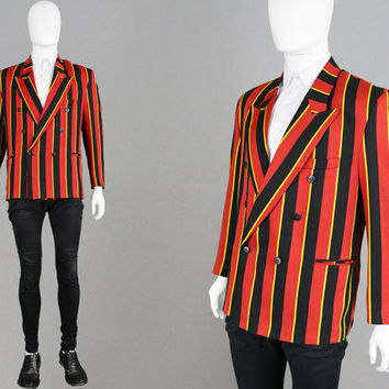 Vintage 70s 60s Mod Boating Blazer Striped Jacket Double Breasted Men Peak Lapels Vertical Stripes 1960s Style Dandy Clothing Sport Coat
