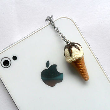 Vanilla With Chocolate Syrup Topping Ice Cream Cone Waffle Cone, Phone Charm, Cute And Kawaii :D