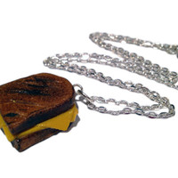 Grilled Cheese Necklace/Charm - Miniature Food Jewelry - Polymer Clay Food