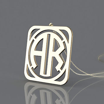 Salable golden monogram necklace--1.5 inch big monogram 2 initial necklace plated in gold