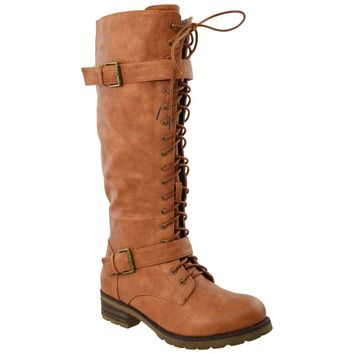Lace Up Knee High Western Boots