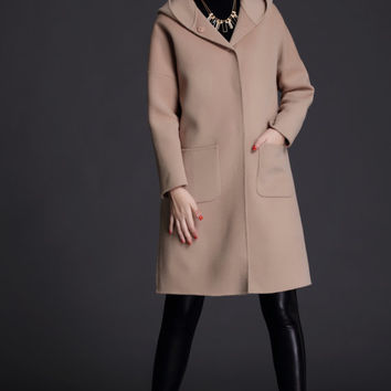 Womens camel wool coat,Wool Winter Coat, Camel Wool Coat,Light Camel coat,hoodie cotton coat,cashmere coat,hooded wool coat ,S61S403