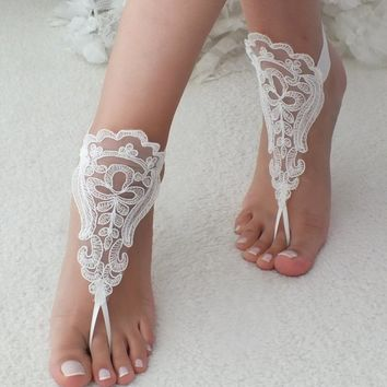 bfde5a6e3893 Beach wedding barefoot sandals accesories lace sandals