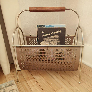 Mid Century Magazine Rack, magazine book storage, Stamped metal double sided, wood handle