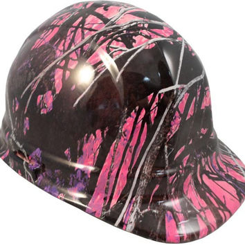 Muddy Girl Pink Hydro Dipped Safety Hats Cap Style