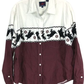 Roper Western Bull Riding Rodeo Aztec Maroon Button Down Casual Shirt Mens XL - Preowned