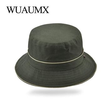Wuaumx Spring Summer Bucket Hats For Men Women Panama Fisherman Fishing Hat UV Protection Hiking Travel Sun Cap Solid Color