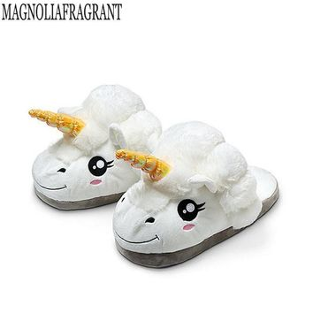 Plush Shoes 1Pair Plush Unicorn Slippers for Grown Ups Winter Warm Indoor Slippers Hom