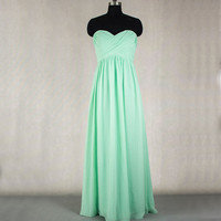 Long MInt Bridesmaid Dress  A-line Sweetheart Chiffon Bridesmaid Dress Prom dress