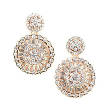 Rose Gold Crystal Round Earring
