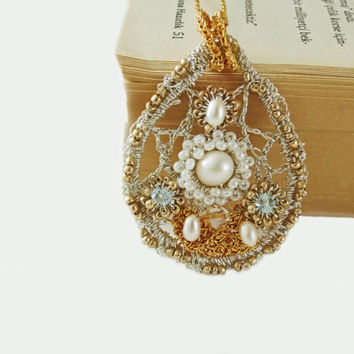 Gold Silver Crochet Tear Drop Pearl PendantSomething by sukran