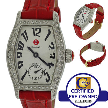Ladies Michele Coquette 71-9001 Steel Watch 0.50ct Diamond Bezel Quartz Watch