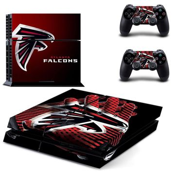 Atlanta Falcons PS4 Skin Sticker Decal For Sony PlayStation 4 Console and 2 Controllers PS4 Skins Stickers Vinyl