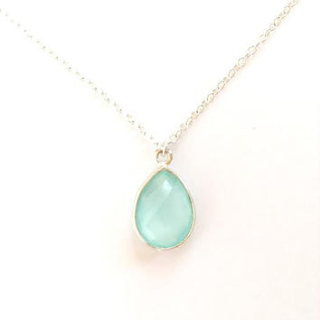Aqua Light Blue Gemstone Sterling Silver Necklace. Pale Blue Chalcedony Teardrop. Gift for Her
