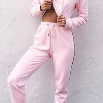 Candy Girl Long Sleeve Hood Matching Elastic Side Stripe Pant Two Piece Set - 3 Colors Available