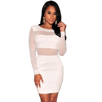 Novelty Long Sleeve Sexy Party Dresses Women Backless Bodycon Bandage Dress Hollow Out Black White Club Dresses S1453