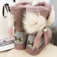 """UGG"" High Quality Winter Fashion Women Bow Diamond Pearl Wool Snow Half Boots Shoes"