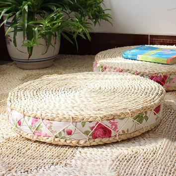 40/45/40cm Tatami Cushion Floor Cushions Round Pouf Natural Straw Meditation Mat Yoga Mat Round Zafu Chair Cushion