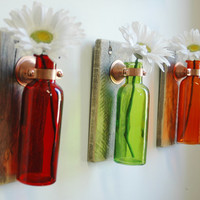 Fruit Punch Collection of  Colored Bottles each mounted on Recycled wood for unique rustic wall decor bedroom decor kitchen decor