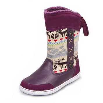 UOVO brand hot kids shoes rubber boots for girls and boys reindeer Christmas boots hig