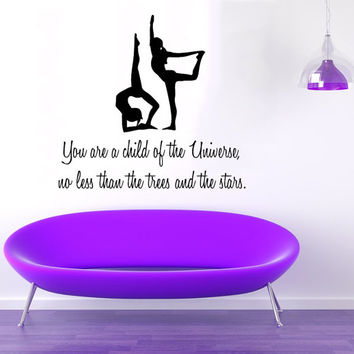Wall Decals Vinyl Decal Sticker Quote You Are A Child Of the Universe Gym Sport Girls Fitness Yoga Studio Art Mural Bedroom Decor KT145