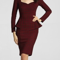 Casual Sweet Heart Bust Darts Houndstooth Flounce Bodycon-dress
