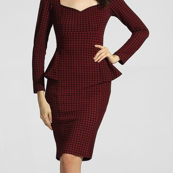 Streetstyle  Casual Sweet Heart Bust Darts Houndstooth Flounce Bodycon-dress
