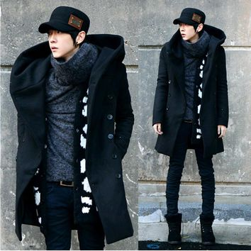 Men Overcoat,Grey Black Navy Blue 2016 Fashion Cheap Mens Pea Coat With Hood Double Breasted Long Wool Trench Coat