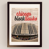 Chicago Blackhawks Dictionary Art Print - United Center - Print on Vintage Dictionary Paper - Hockey Art, Chicago Print, Hawks