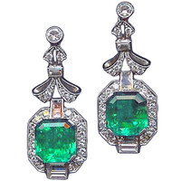 1STDIBS.COM Jewelry & Watches - Important Art Deco Emerald and Diamond Pendant Earrings - Sheila Goldfinger Antiques & Estate Jewelry