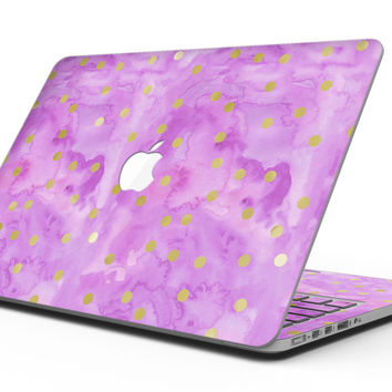 Gold Polka Dots Over Grungy Pink Surface - MacBook Pro with Retina Display Full-Coverage Skin Kit