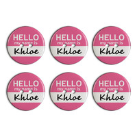 Khloe Hello My Name Is Plastic Resin Button Set of 6