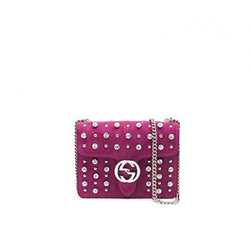 GUCCI Interlocking Studded Suede Shoulder Bag