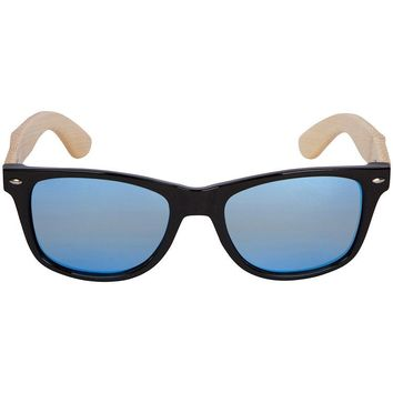 Bamboo Wood Sunglasses with Silver Mirror Lens