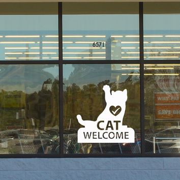 Vinyl Wall Decal Cat Logo Welcome Veterinary Clinic Pet Shop Stickers (2502ig)