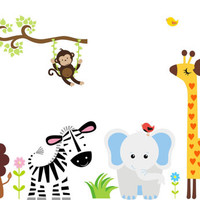 "Kids Room Wall Decals, Safari Jungle Wall Decals, Zoo Animal Decals, Jungle Wall Stickers, Nursery Baby Safari Wall Decals - 60"" x 100"""