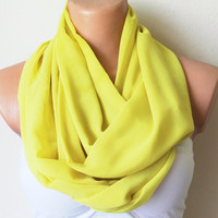 Lemon Yellow Chiffon Loop Infinity Scarf Soft and by fairstore