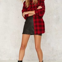 After Party by Nasty Gal Seeing Shred Flannel Top - Red